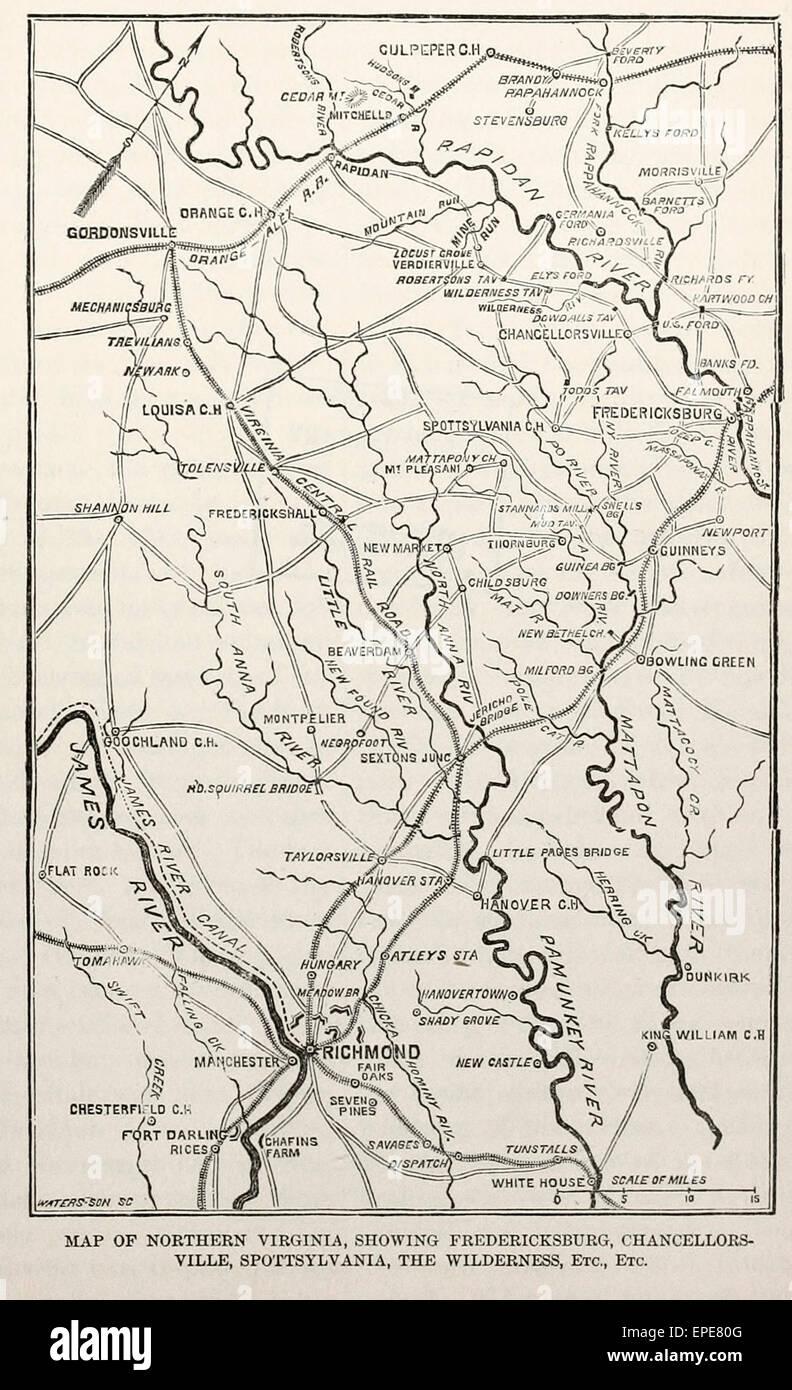 Map of Northern Virginia, showing Fredricksburg ...