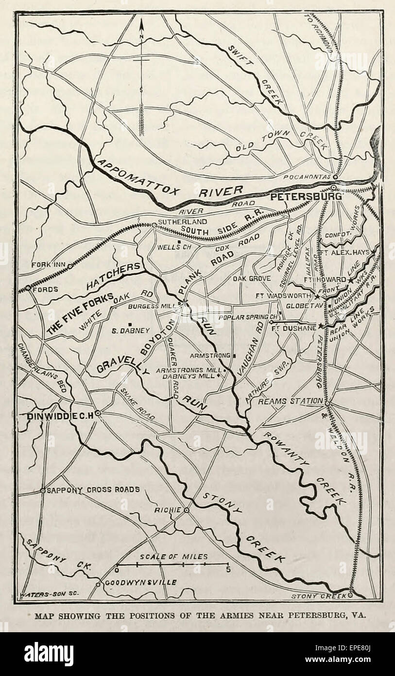 Map showing the positions of the Armies near Petersburg, Virginia during the USA Civil War, 1864 - 1865 - Stock Image