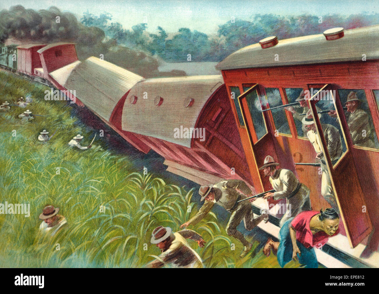 Insurgents wrecking a train during the Philippine American War, 1899 Stock Photo