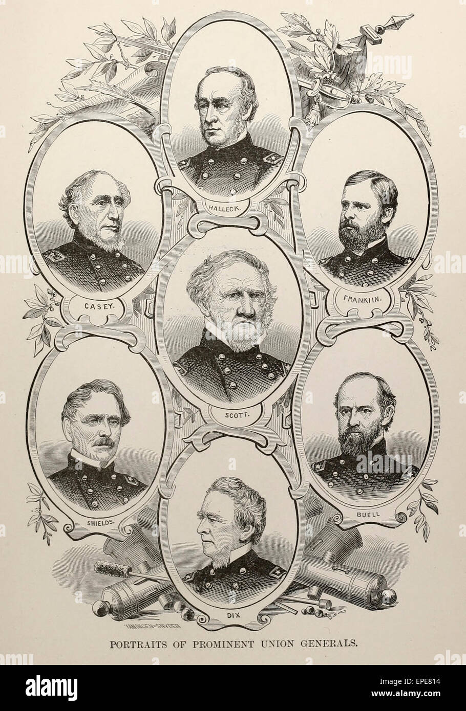 Portraits of Prominent Union Generals - USA Civil War - Casey, Scott, Halleck, Shield, Franklin, Buell, Dix - Stock Image