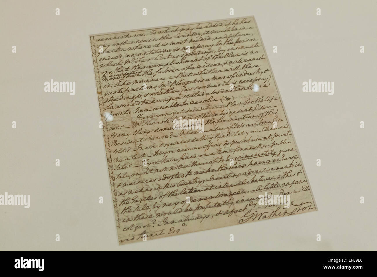 Hand written letter from George Washington, circa 1791 - USA - Stock Image
