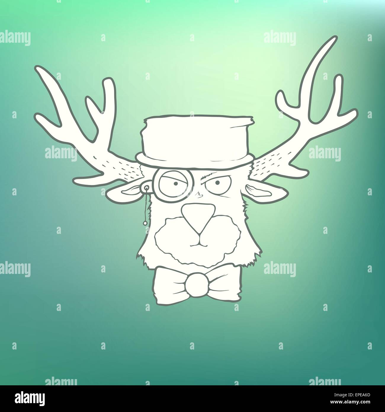 a2008b876ab Vector Illustration Hand-drawn cute head of hipster deer with horns on  blurred green background