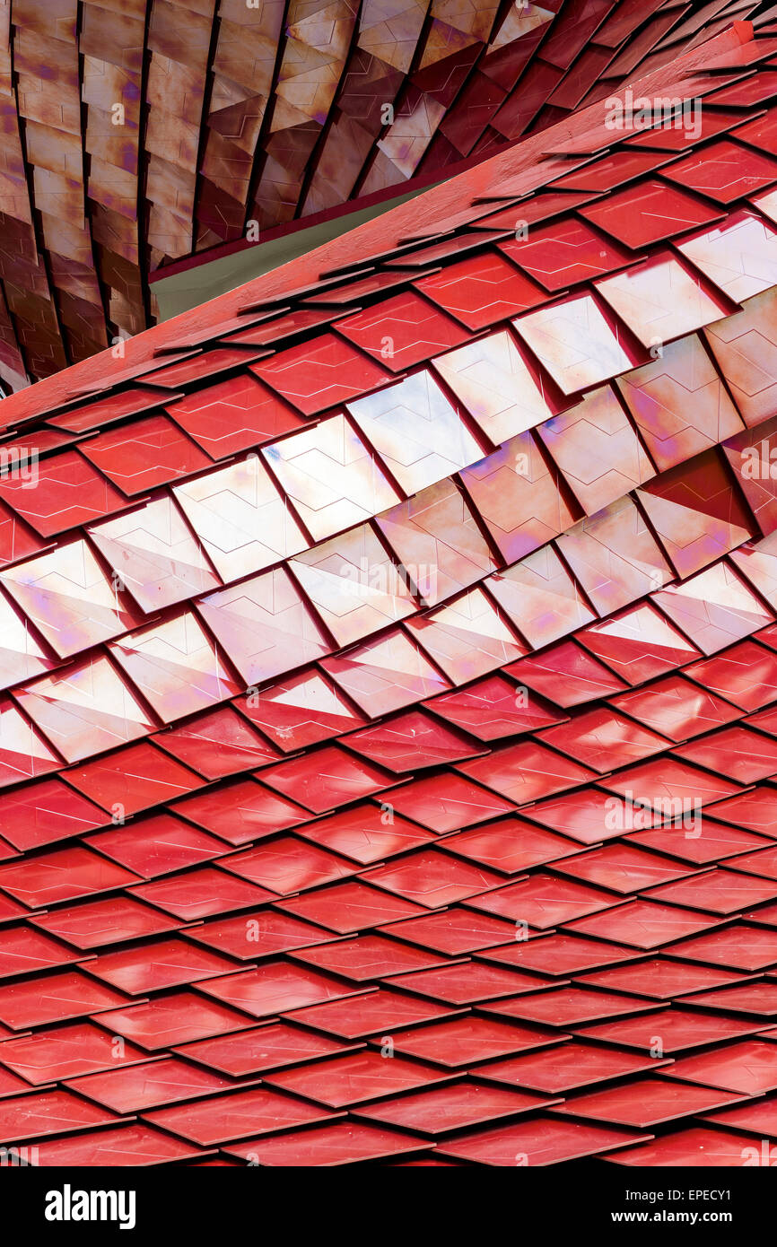 Exterior facade detail with geometrical pattern of red tiles. Milan Expo 2015, Vanke Pavilion, Milan, Italy. Architect: - Stock Image