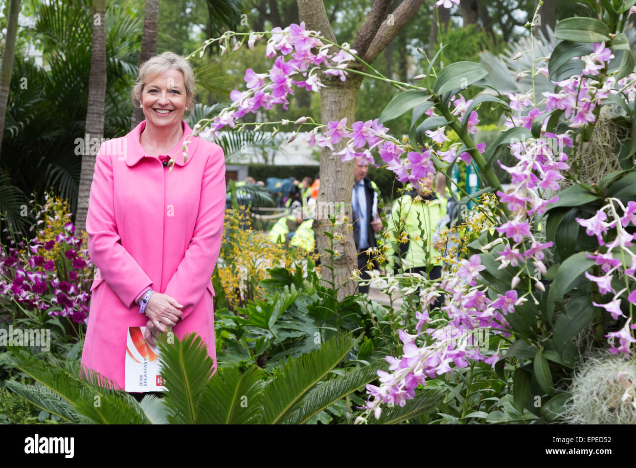 London, UK. 18 May 2015. BBC weather presenter Carol Kirkwood smiles as the first drops of rain land on Chelsea - Stock Image