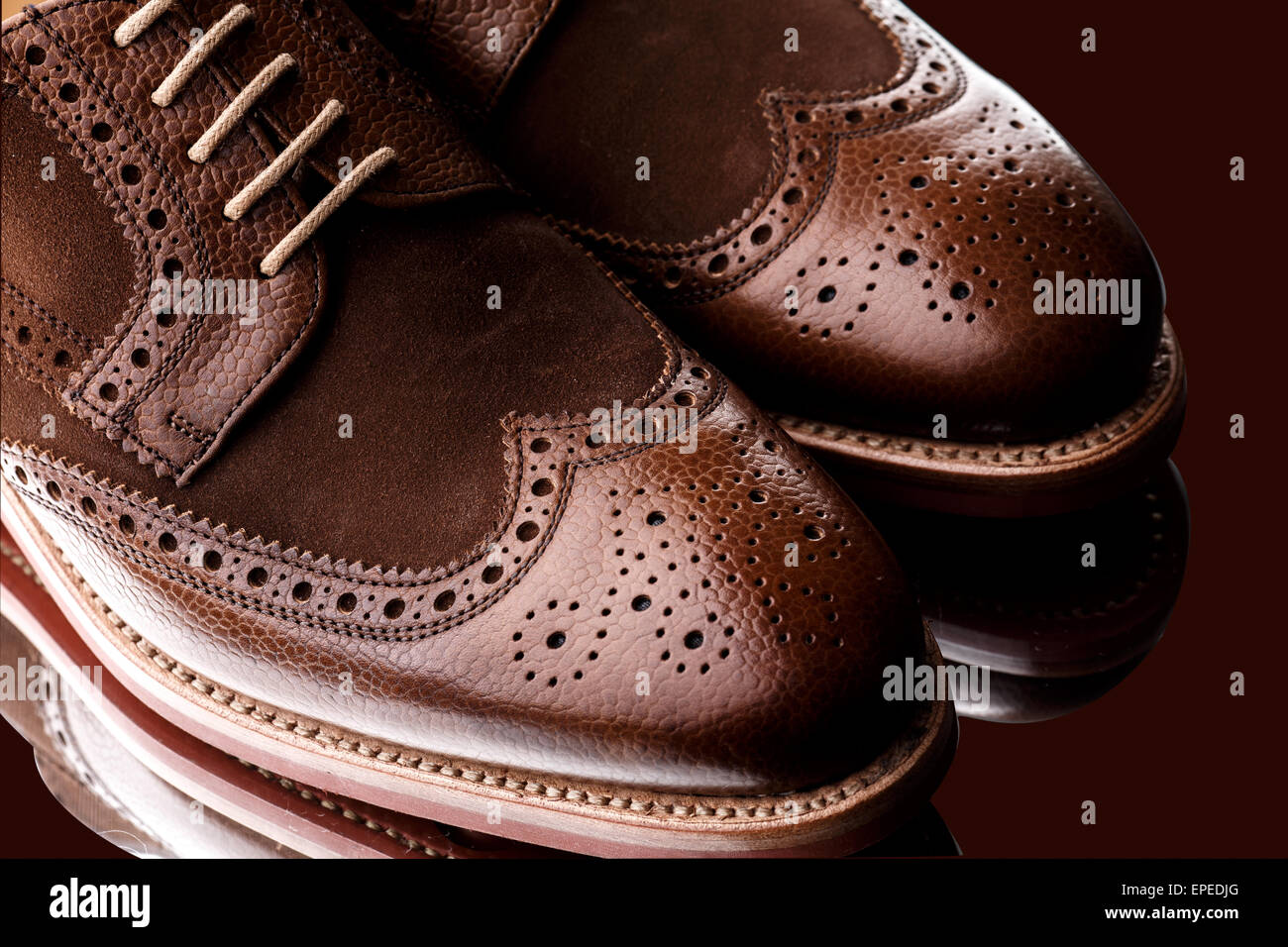 Unworn, laced pair of two tone men brogues (derbys) with elegant toe shape. The upper is stunning combination of - Stock Image