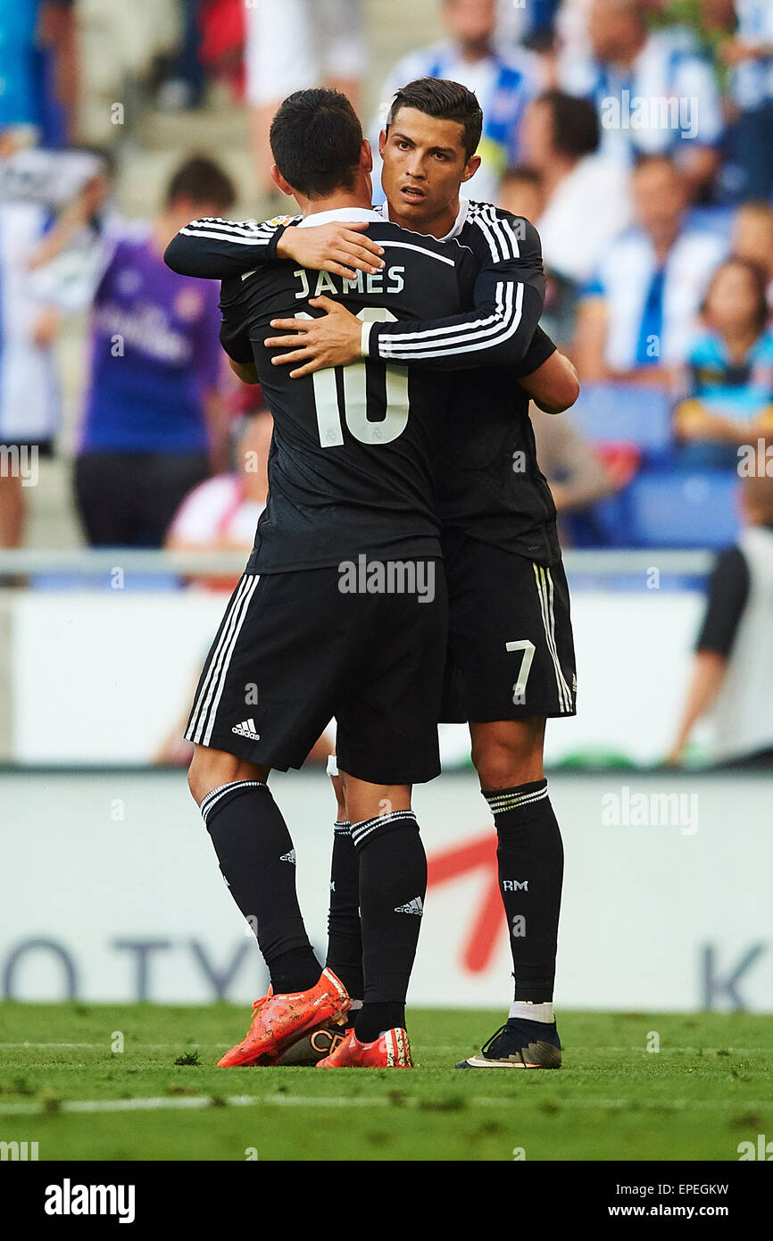 60595ec8f Cristiano Ronaldo (Real Madrid CF) celebrates with his teammate James  Rodriguez (Real Madrid CF) after scoring