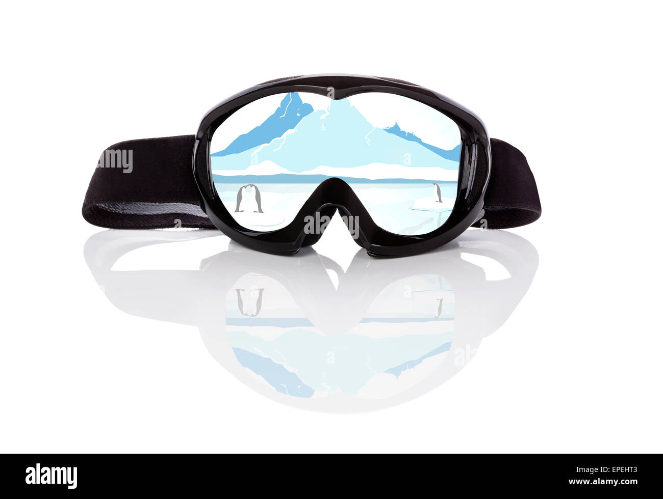 Winter sports season. Ski goggles with beautiful winter arctic landscape reflection isolated on white background. - Stock Image