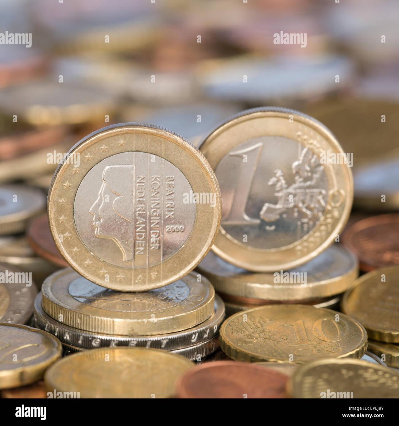 1 Euro Münze aus Niederlande - Stock Image