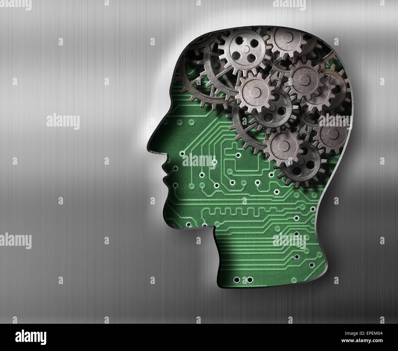 Brain model in metal plate - Stock Image