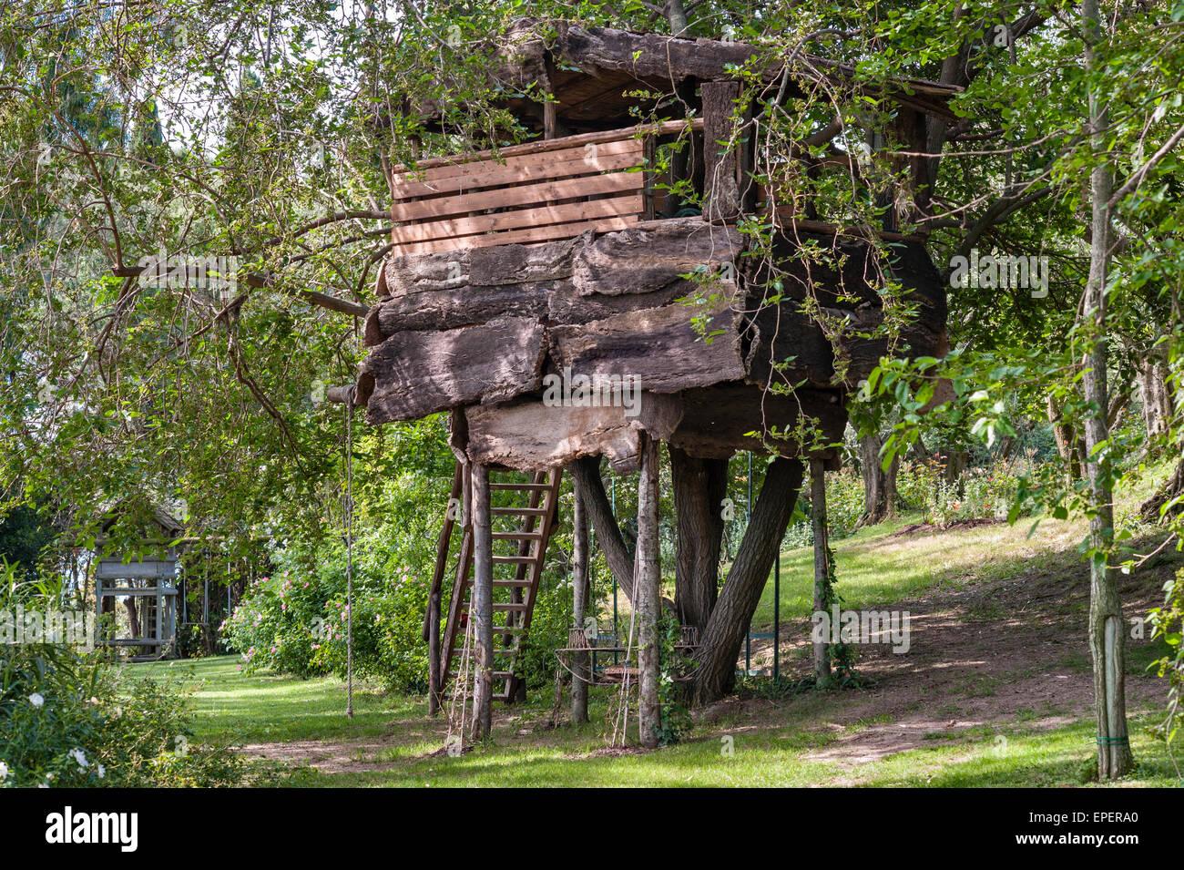 Italy A Garden Tree House Built For Children Stock Photo
