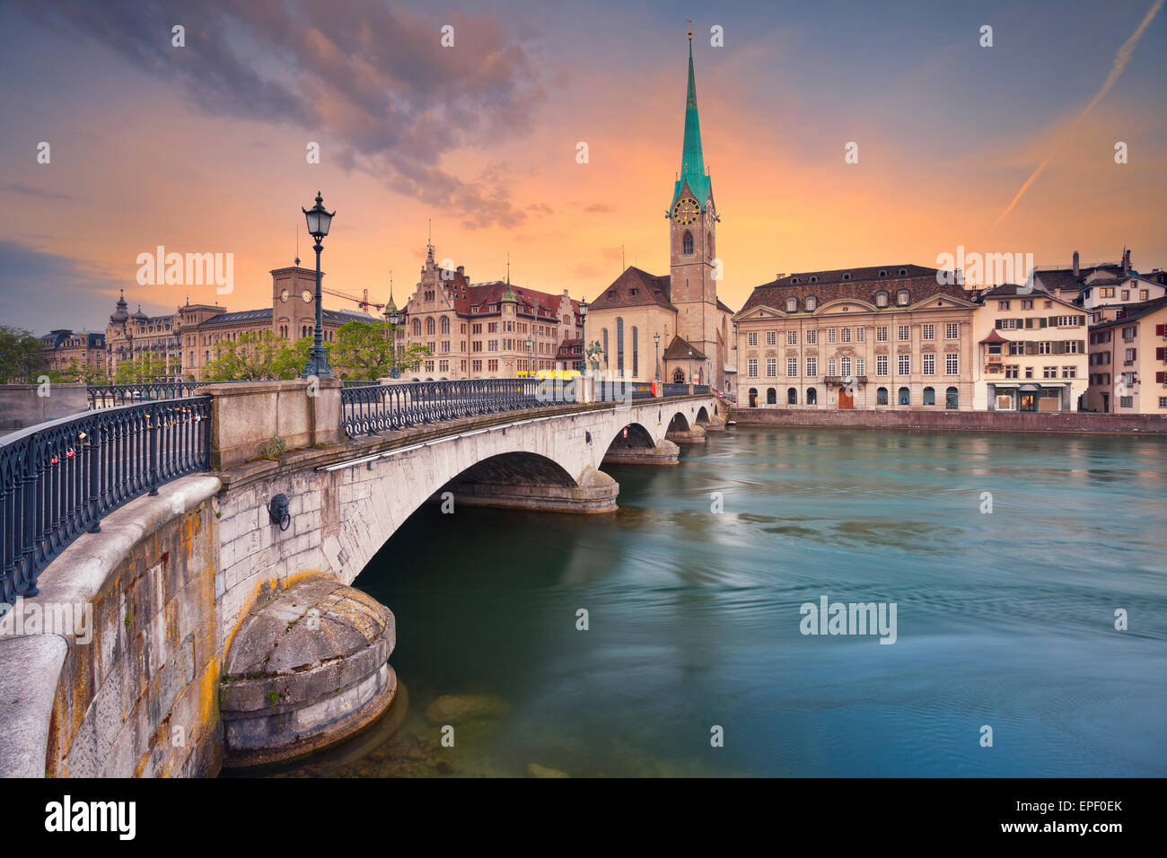 Zurich. Image of Zurich during dramatic sunrise. Stock Photo