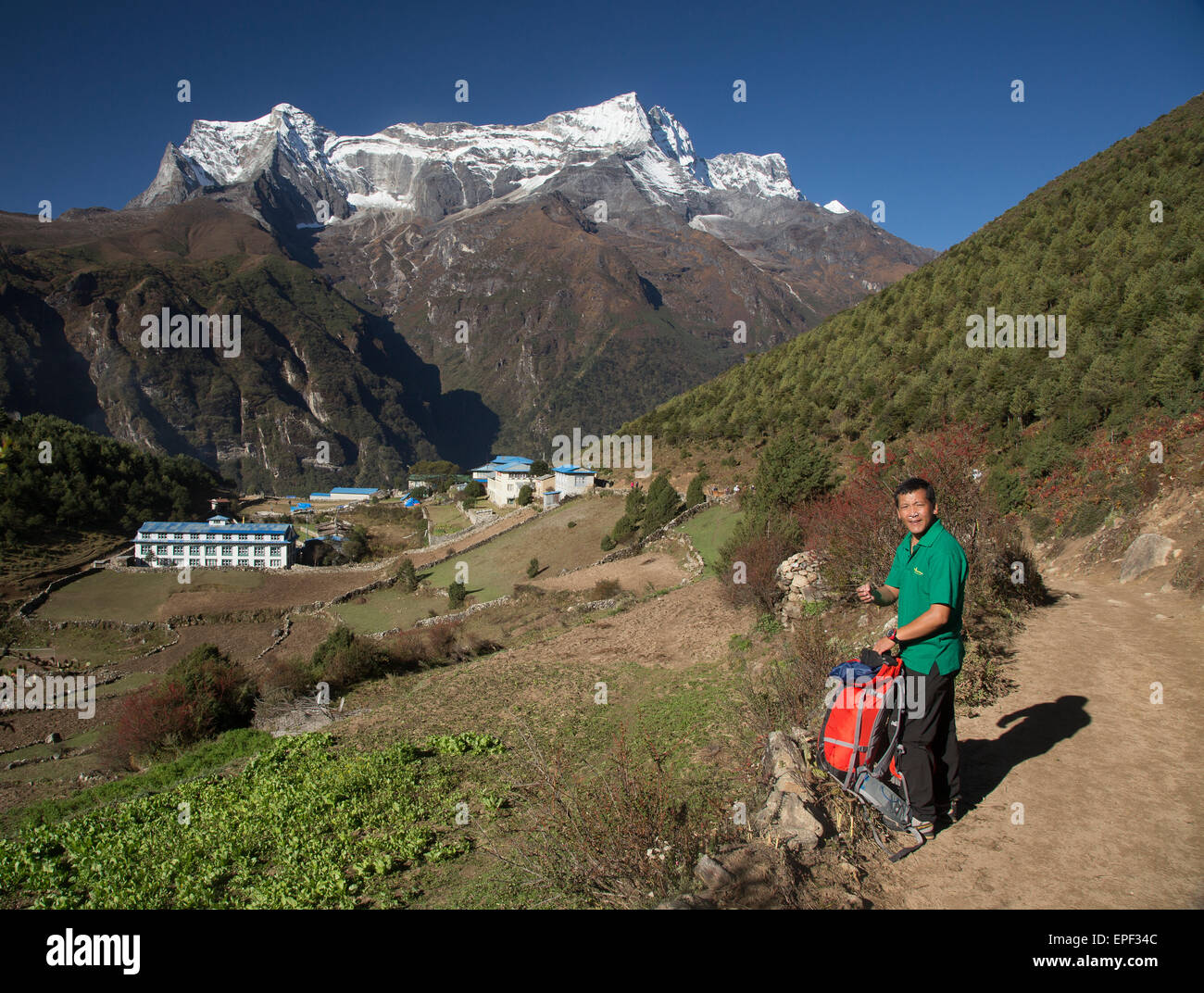 Dayula Sherpa has summited Everest 3 times and now leads treks in the Himalayas, this is the main path above Namche - Stock Image