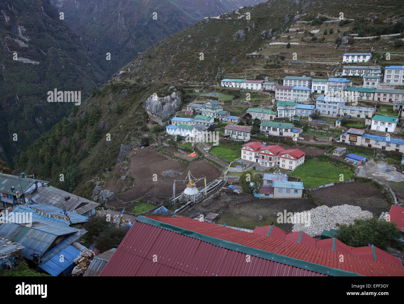 The view from the Hill Ten Hotel, looking down onto the town of Namche Bazaar in the Everest Region of Nepal - Stock Image