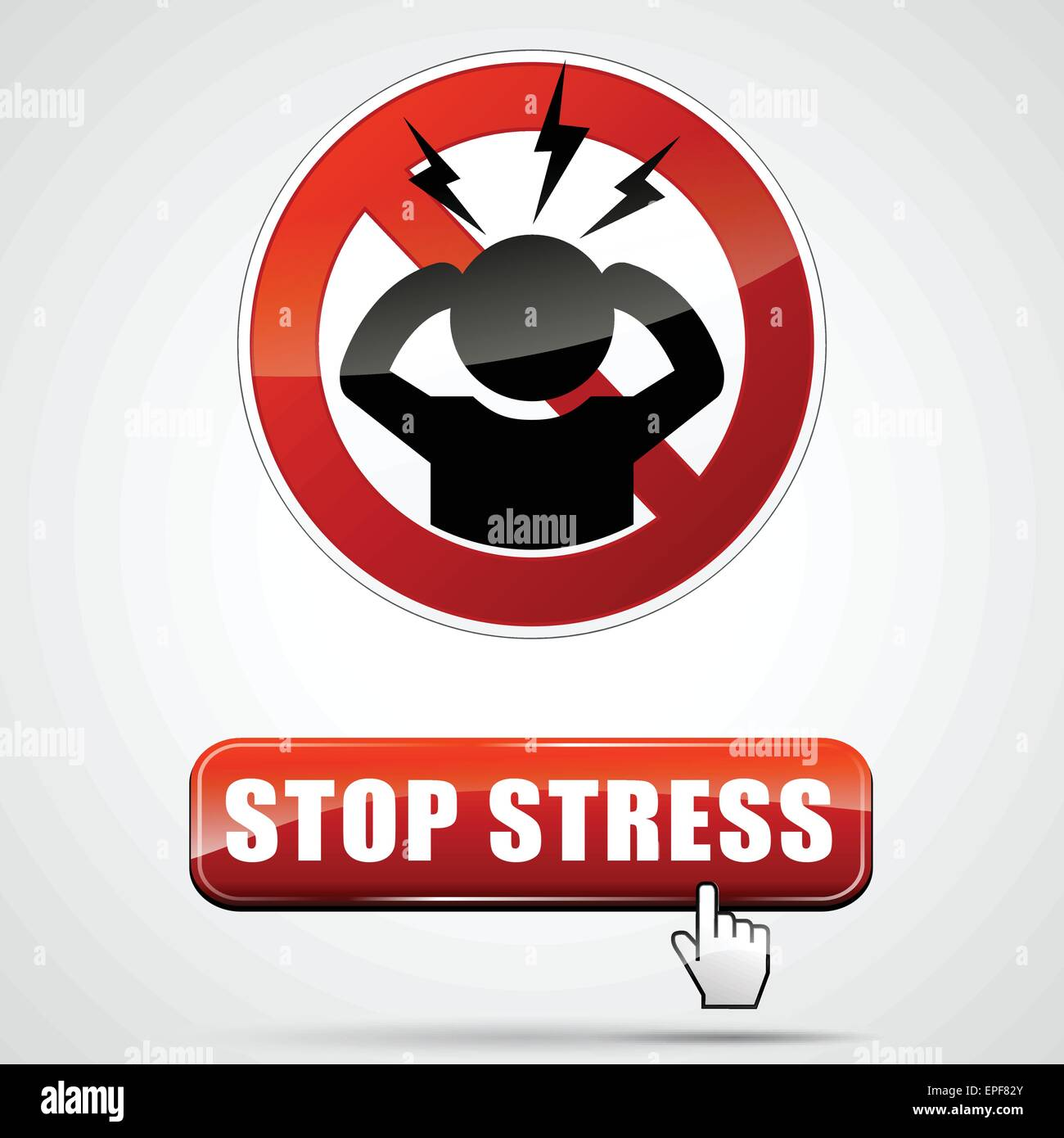 illustration of stop stress sign with web button - Stock Vector