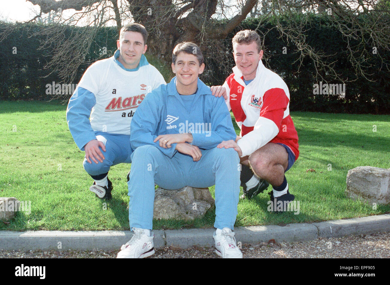 England Football Team, 17th February 1992. Photocall. David Hirst of Sheffield Wednesday, Gary Lineker of Tottenham - Stock Image