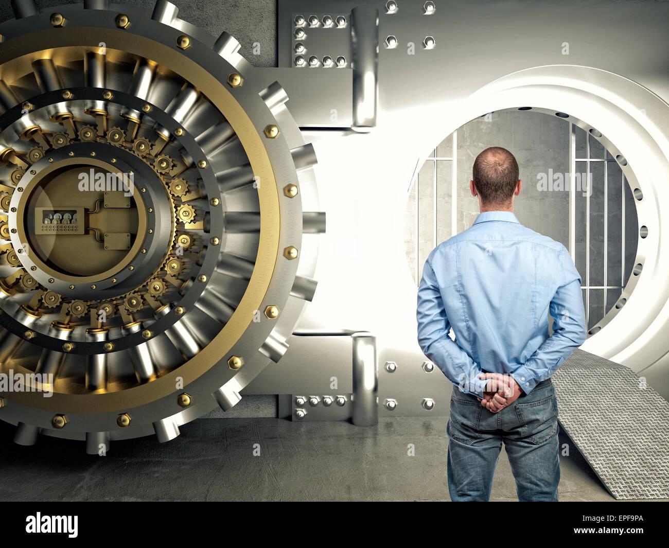 standing businessman look modern vault - Stock Image