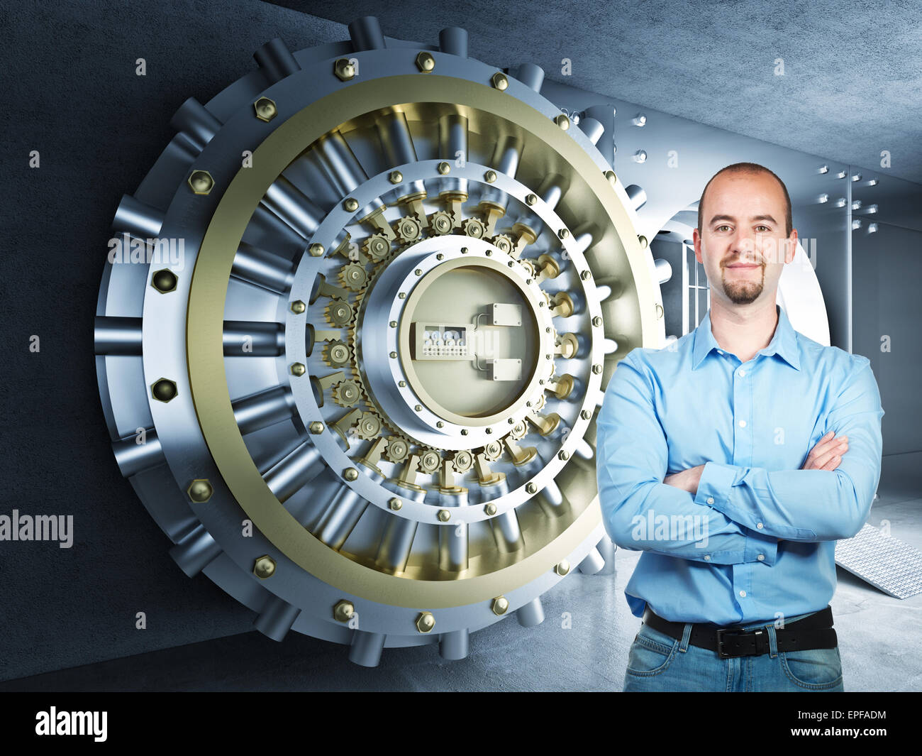 confident man and 3d bank vault background - Stock Image