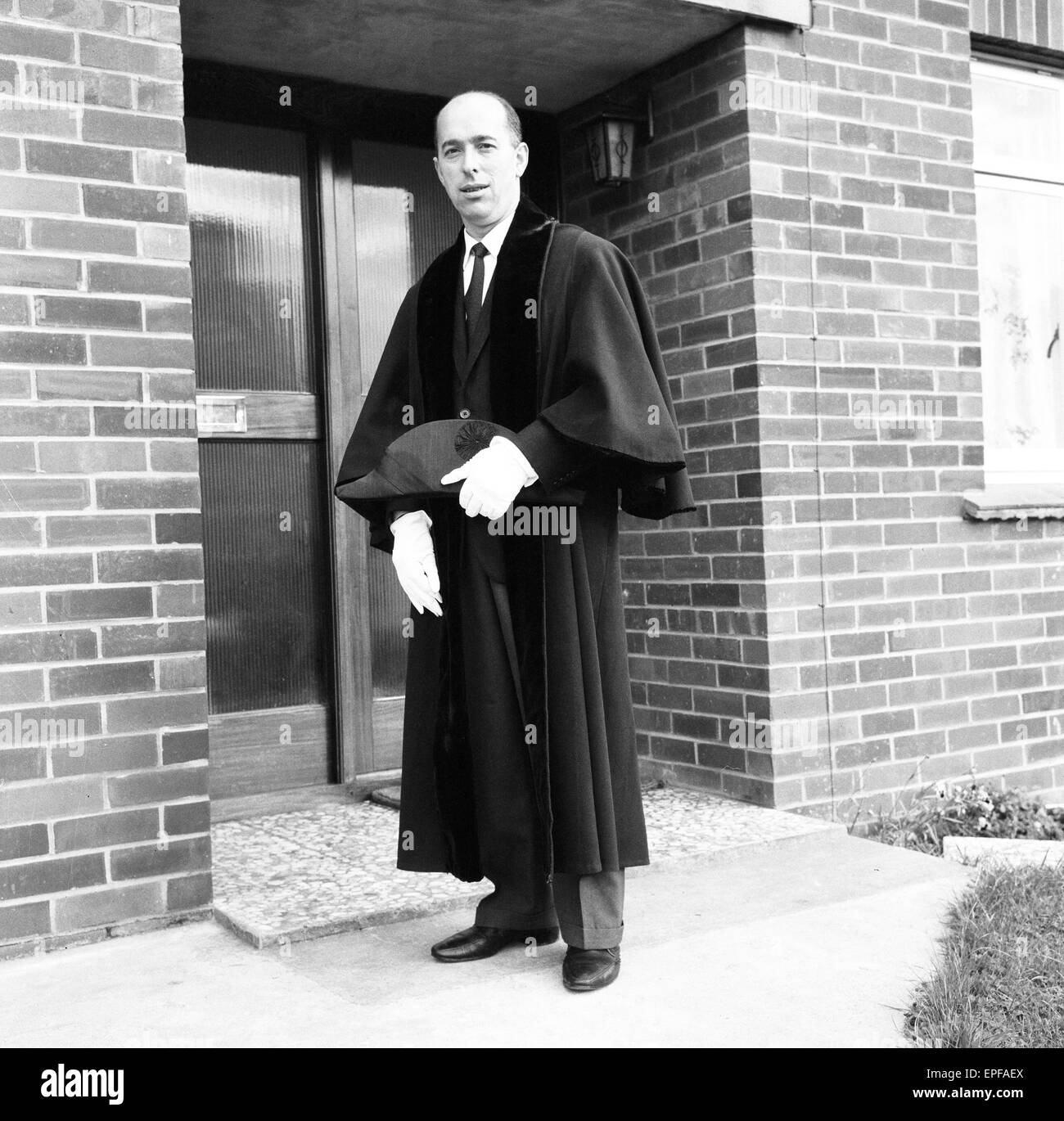 Councillor Edward Minghella, Ryde Town, Isle of Wight, 26th July 1965. Pictured wearing robe, in which he was presented - Stock Image