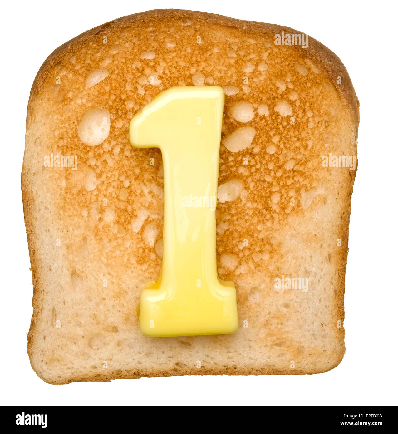 Isolated Toast with butter number 1 - Stock Image