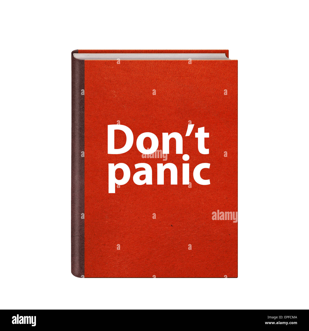 5553bb8df Red book with Dont panic text on cover isolated - Stock Image