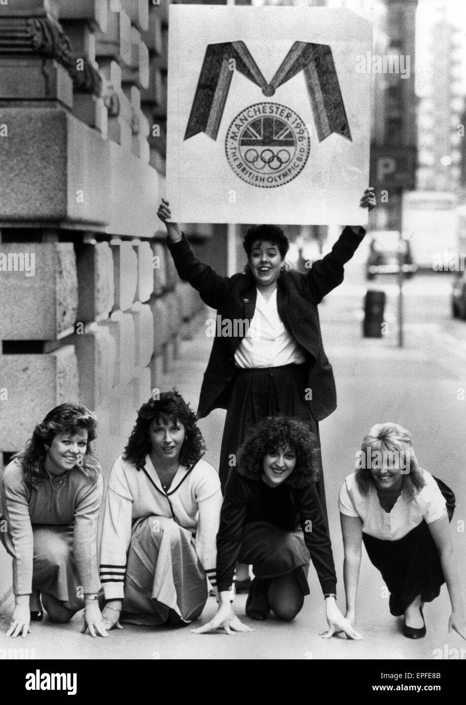 Manchester Olympic Bid for the 1996 Games, 15 March 1990.  Olympic Bid girls. - Stock Image