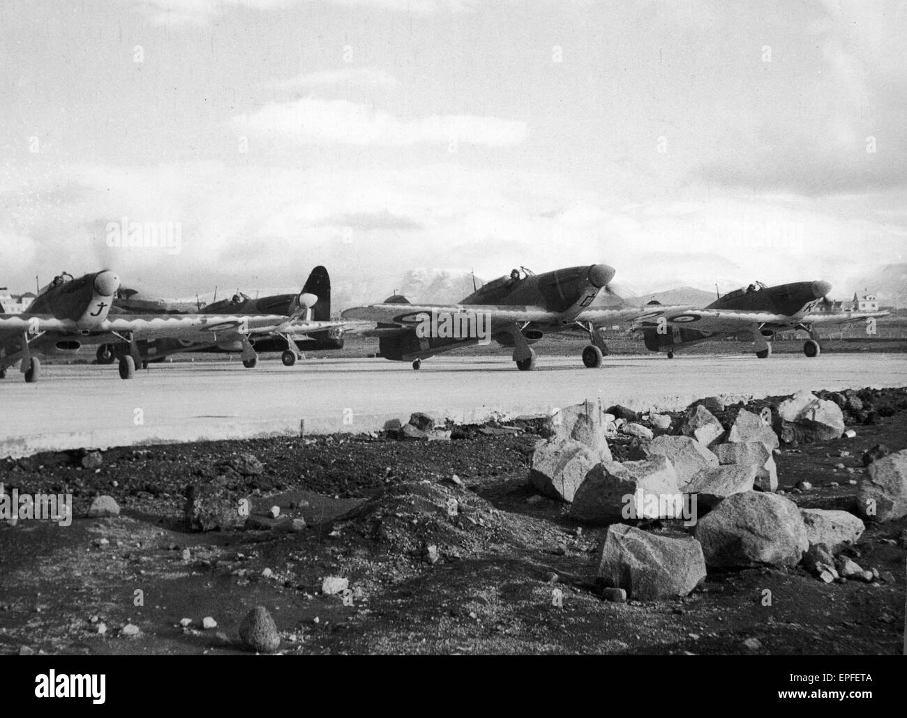 Series display phases of activities of the RAF in Iceland, main outpost of their effort in the battle of the Atlantic, - Stock Image