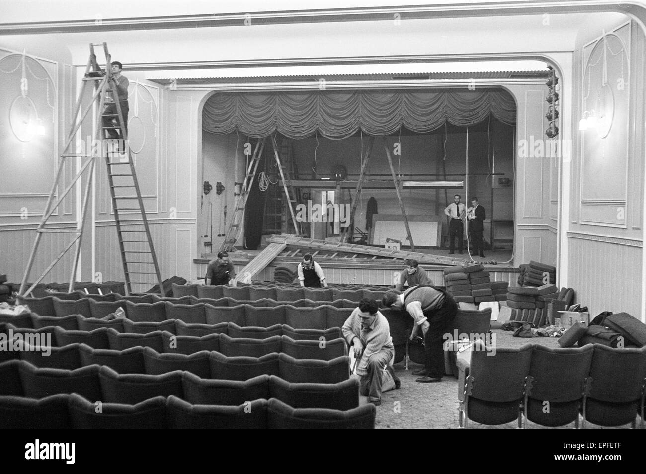 Interior view of The Prince Charles Cinema in Leicester Square during its construction. 6th December 1962. - Stock Image