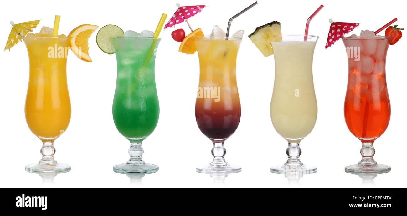 Set von Cocktails wie Pina Colada und Tequila Sunrise - Stock Image