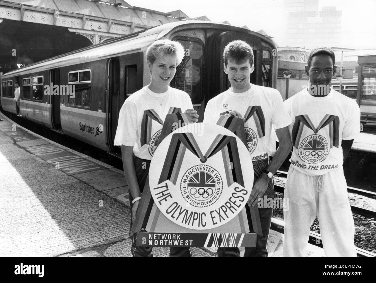 Manchester Olympic Bid for the 1996 Games, 16th July 1990.  The Olympic Bid train to Blackpool. - Stock Image