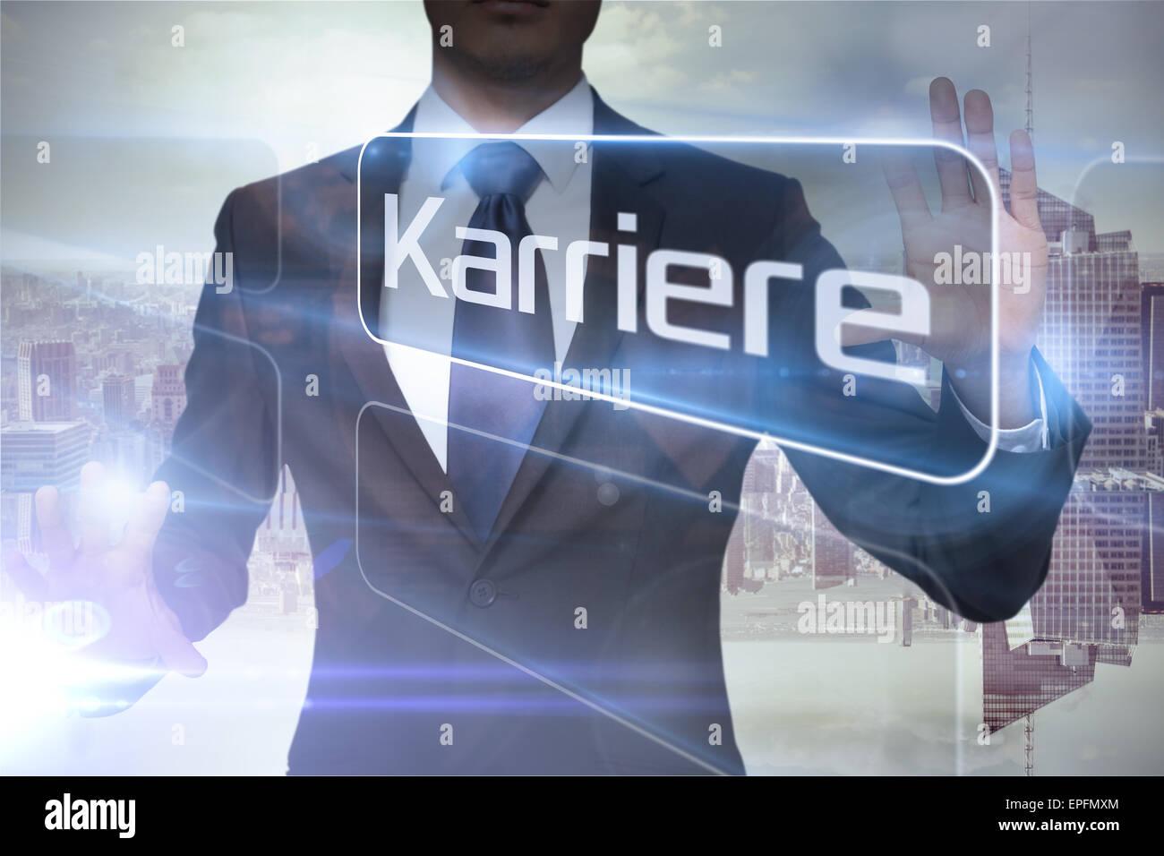 Businessman presenting the word careers in german - Stock Image