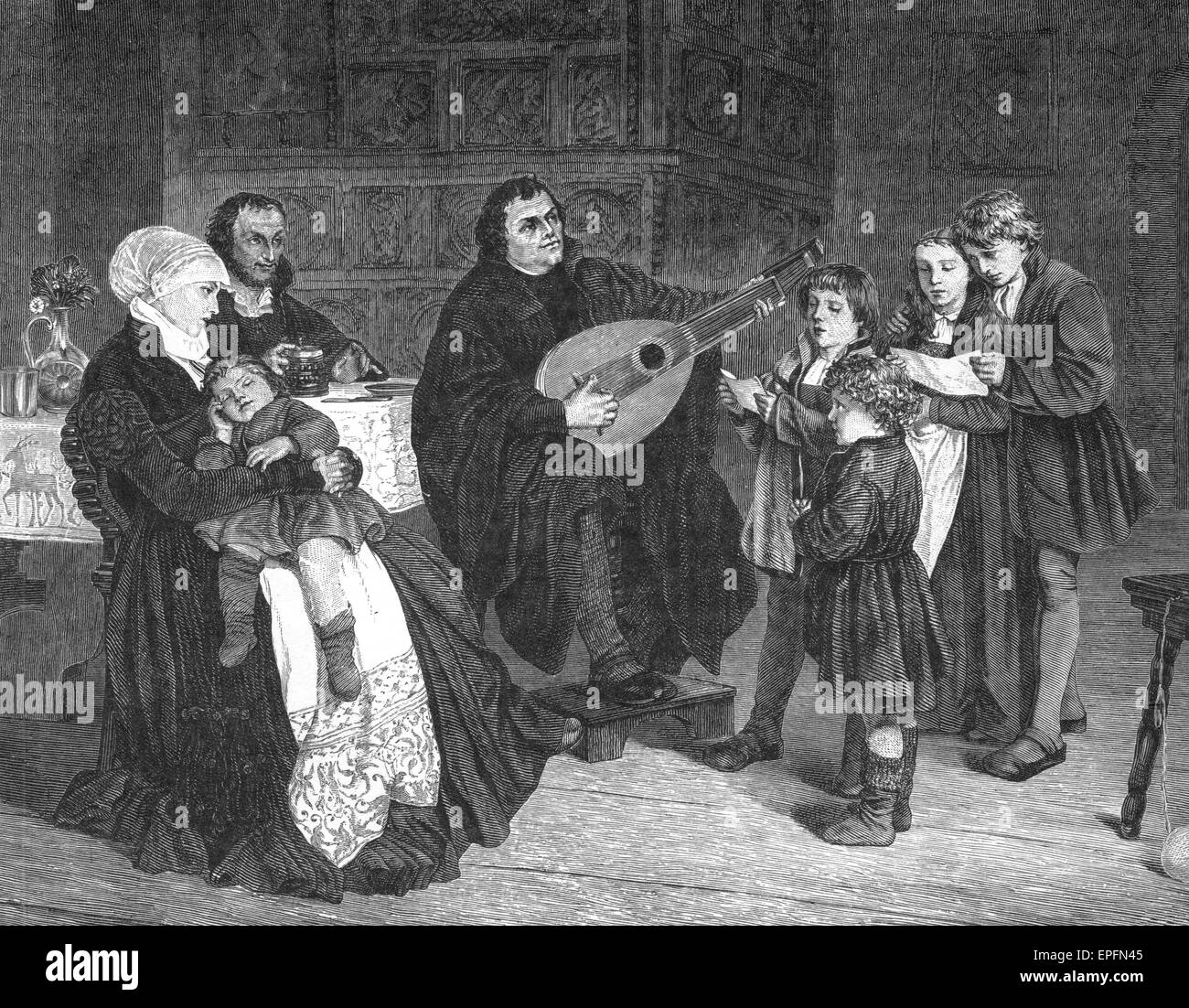 Martin Luther, theologian and reformer, with his family, 1536 - Stock Image