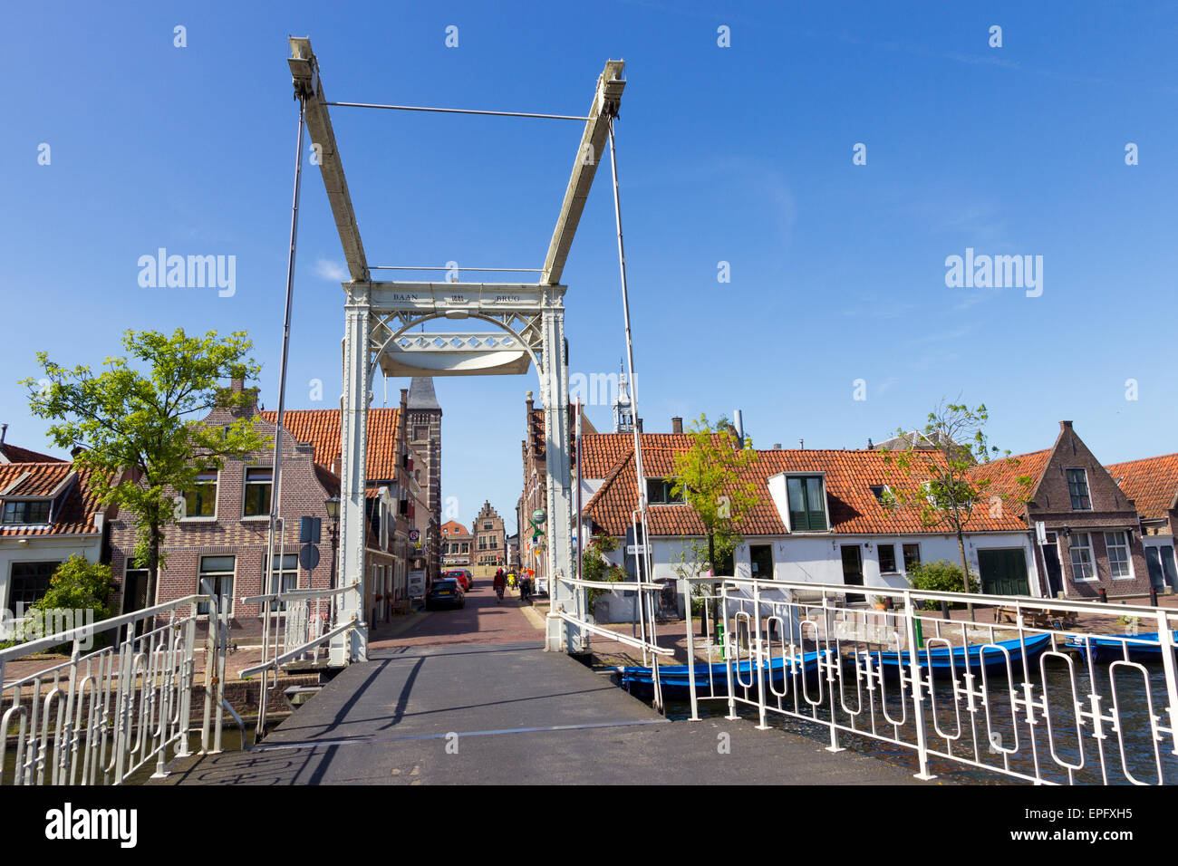 Draw bridge leading to the Carillon tower om May 15, 2014 in Edam. - Stock Image