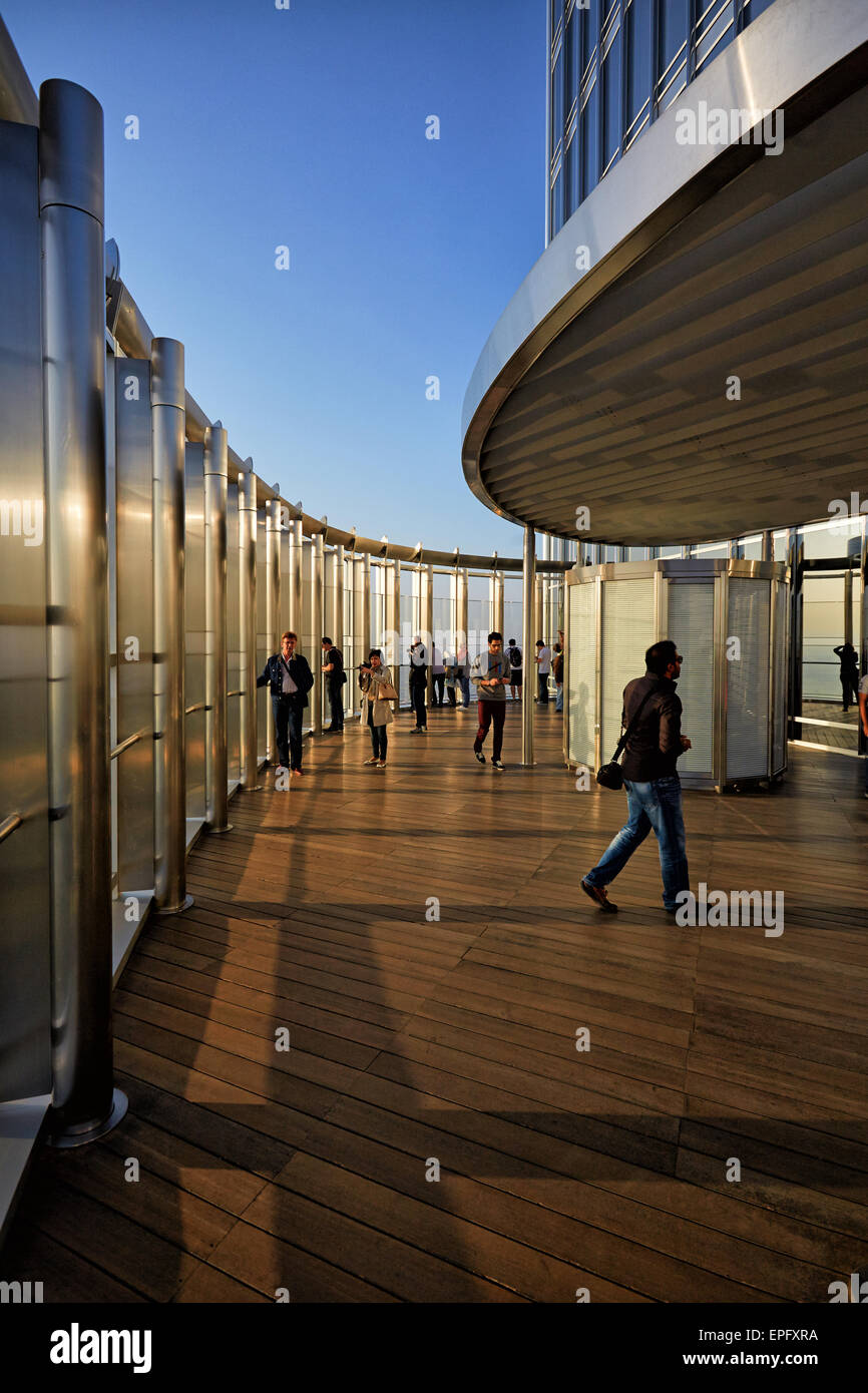 Burj Khalifa observation desk in  Dubai - Stock Image