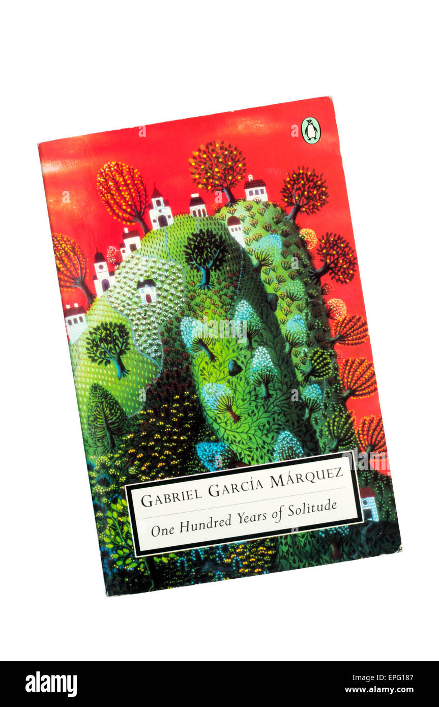 A paperback copy of One Hundred Years of Solitude by Gabriel Garcia Marquez. - Stock Image