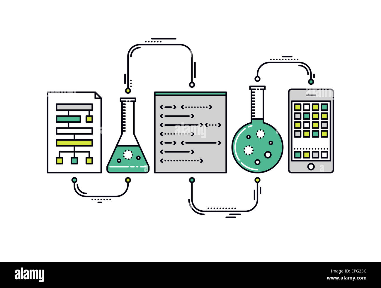 Laboratory experiment with scientific datum, chemical reaction process, science big data analysis for mobile application. - Stock Image