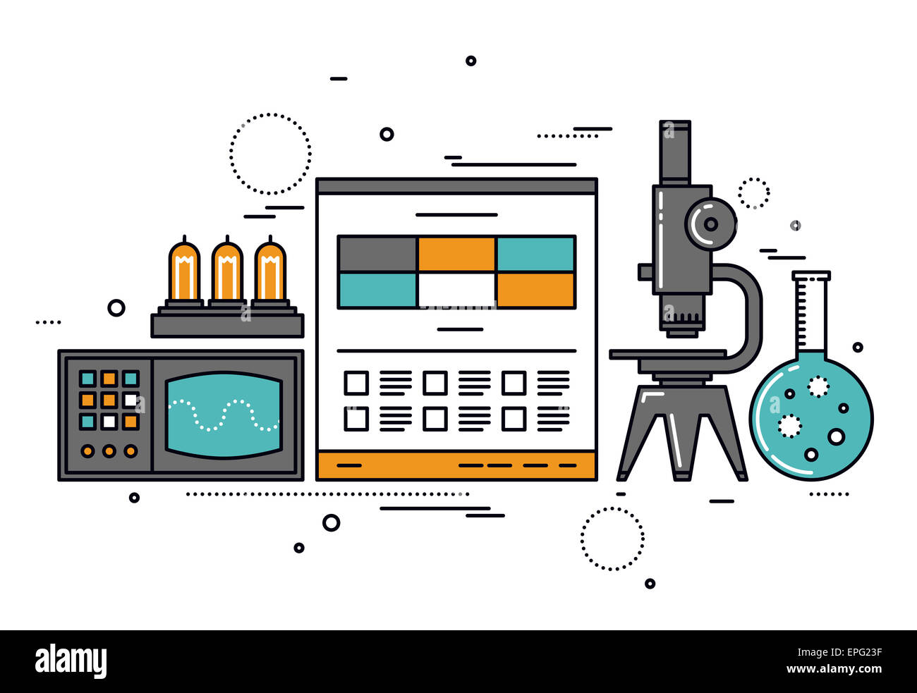 Electrical science research, technical documentation on website, vacuum lamp tube and retro oscilloscope. - Stock Image