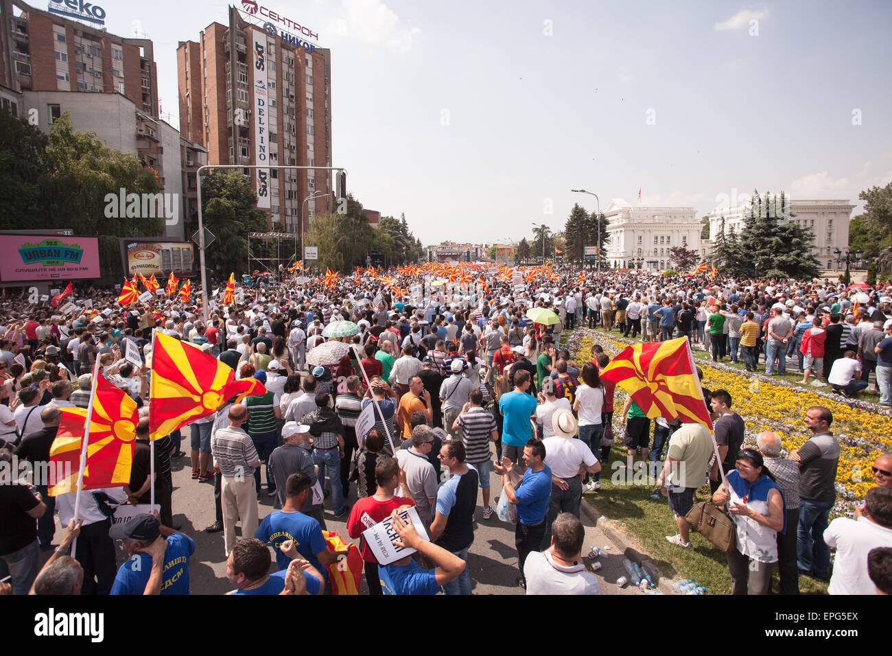 SKOPJE, MACEDONIA - MAY 17 2015: Massive multietnical protests against the government, after the opposition publicized - Stock Image