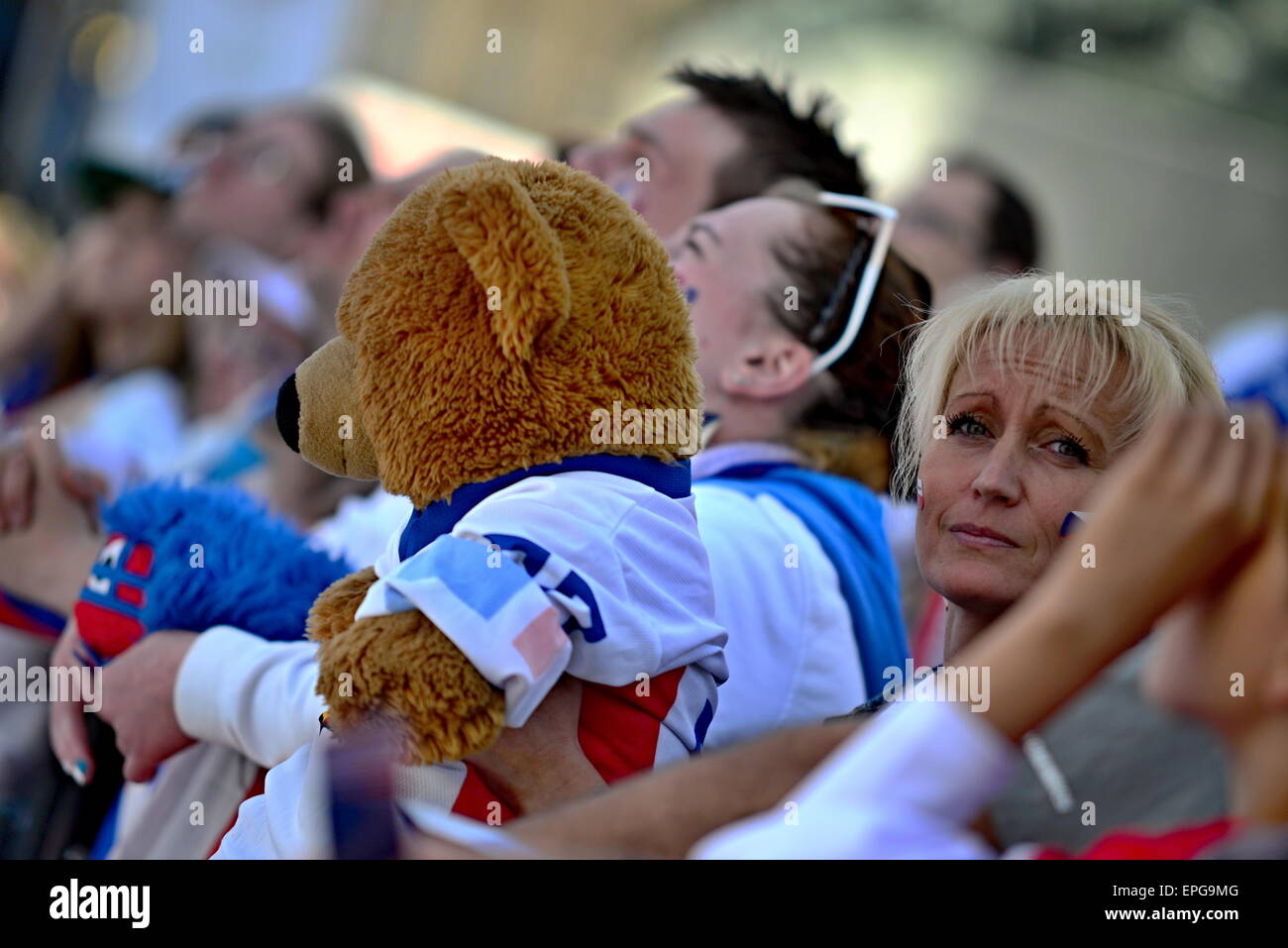 May 17, 2015, Prague In Czech republic. Czech fans in Old Town square during Ice Hockey championship. May 17, 2015, - Stock Image