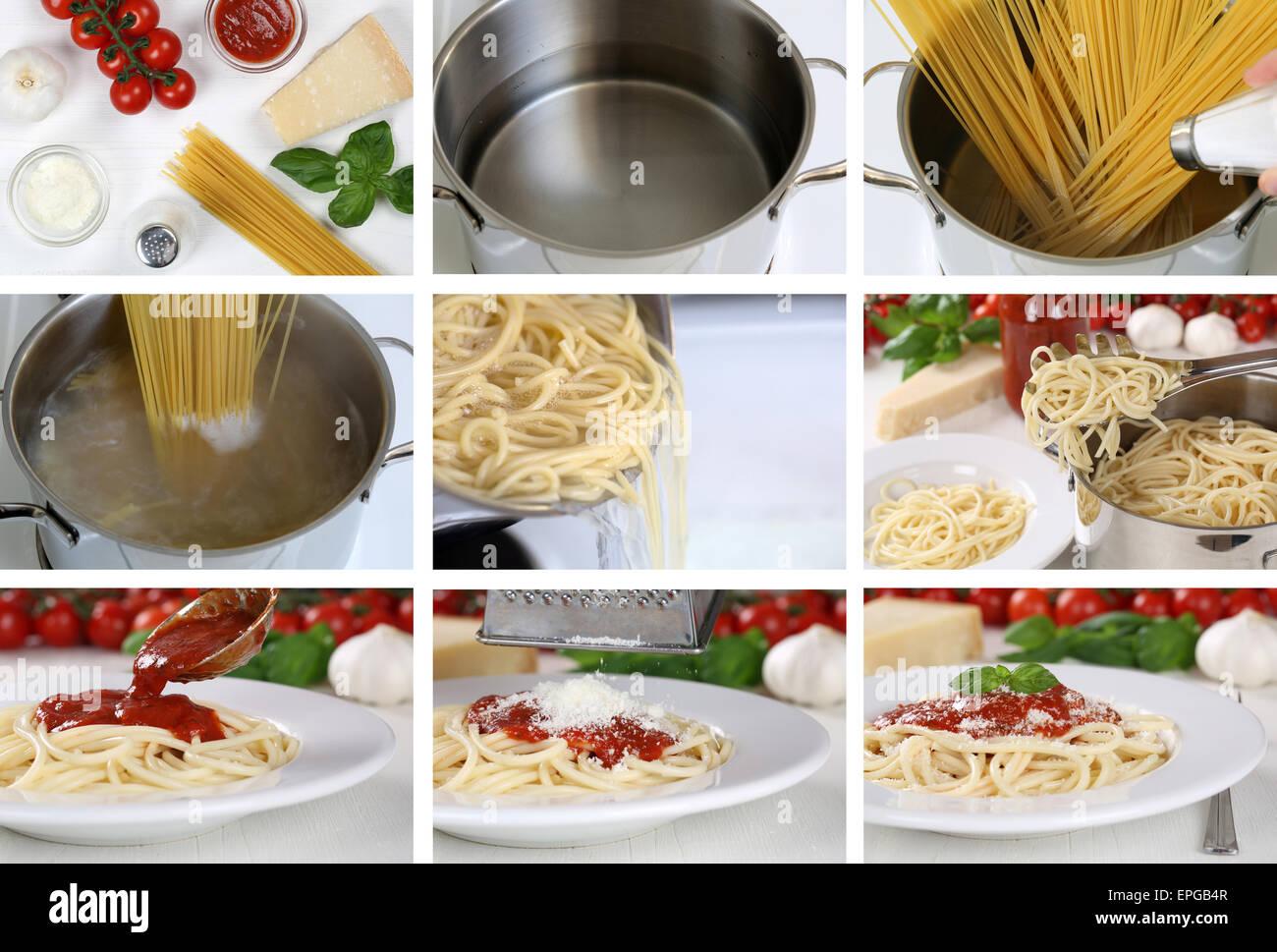 Spaghetti Nudeln Pasta Mit Tomaten Sauce Kochen Anleitung Schritt Stock Photo Alamy