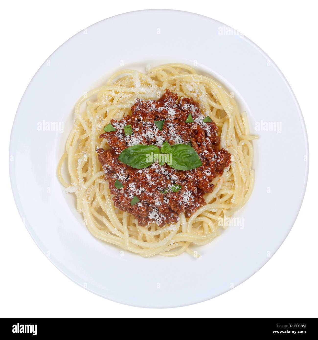 Spaghetti Bolognese Nudeln Pasta Gericht freigestellt Stock Photo