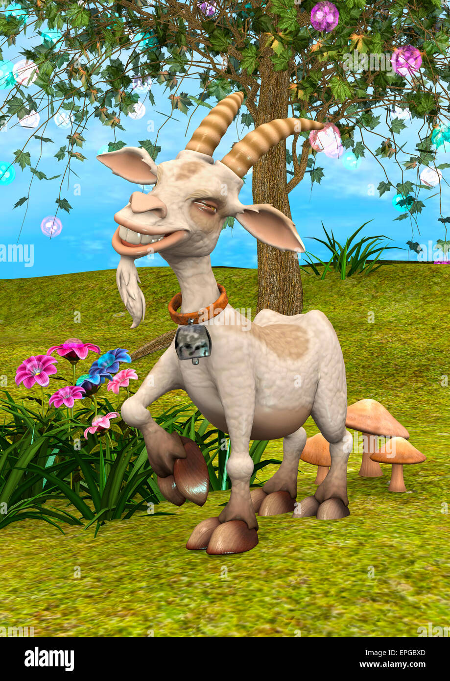 3D Digital Render Of A Happy Cartoon Goat On A Fantasy Garden Background
