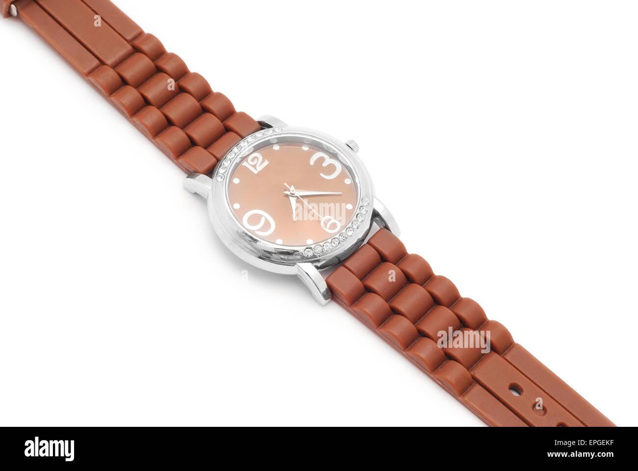 wrist watch closeup on white - Stock Image