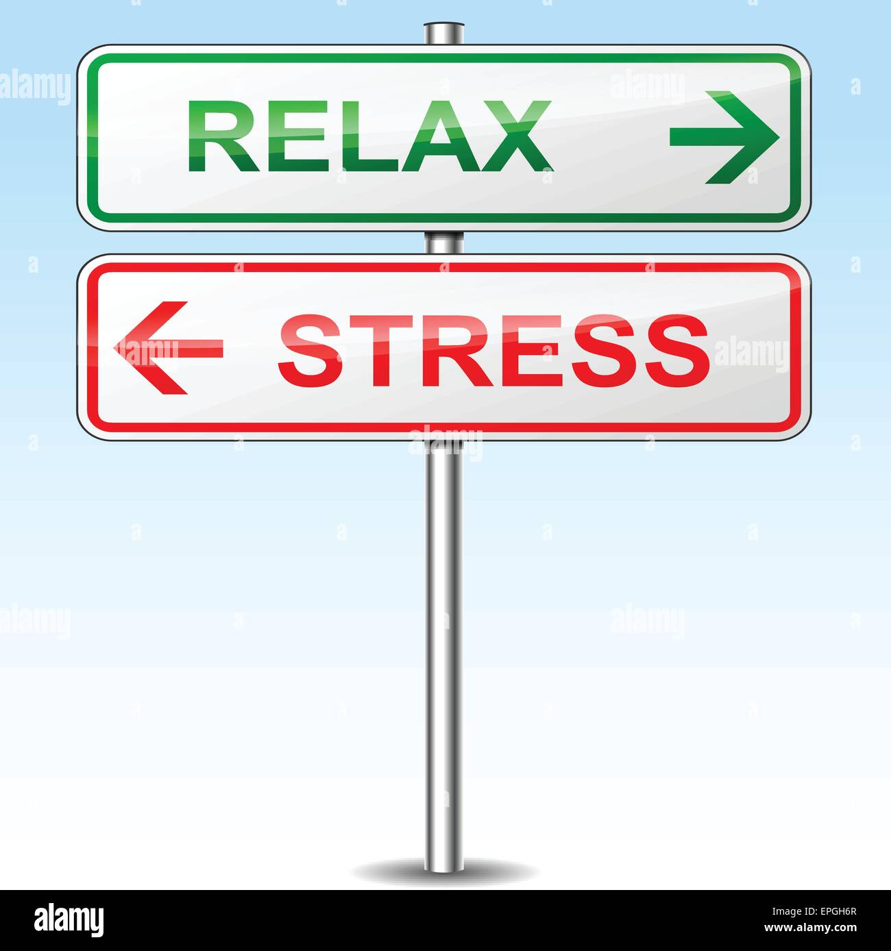 illustration of stress and relax directional signs - Stock Vector