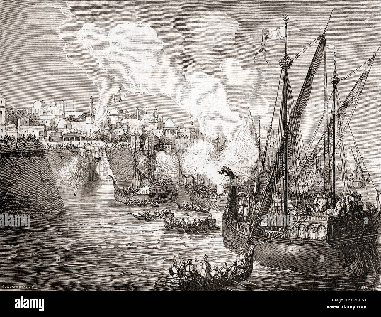 The siege of Constantinople in 1453 by Ottoman Sultan Mehmed II. - Stock Image