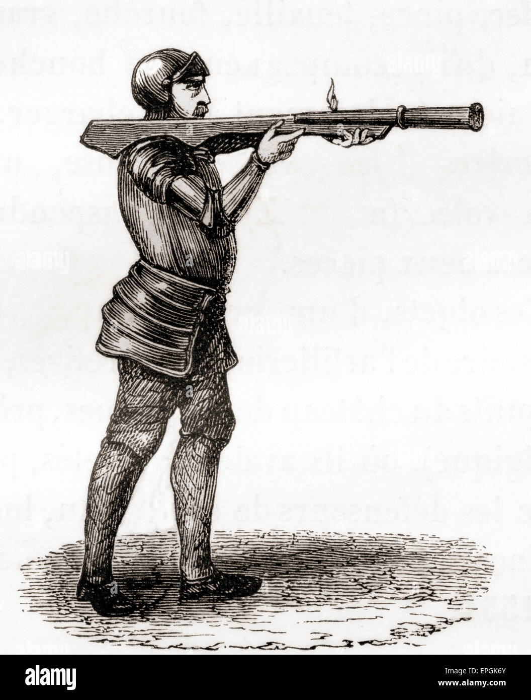 A foot soldier using a hand held bombard.  Late 14th and 15th centuries.  After a 19th century drawing. - Stock Image