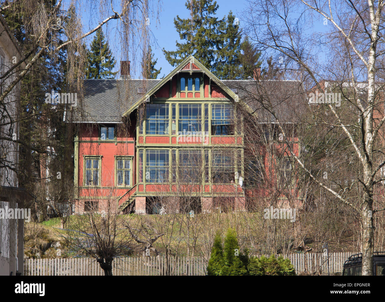 Large wood-framed turn of last century villa in the Ulleval district of Oslo Norway - Stock Image