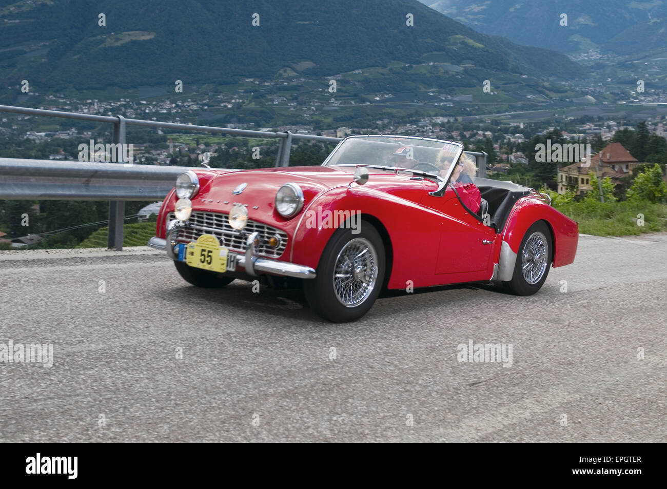 south tyrol classic cars_2014_Triumph TR 3A - Stock Image