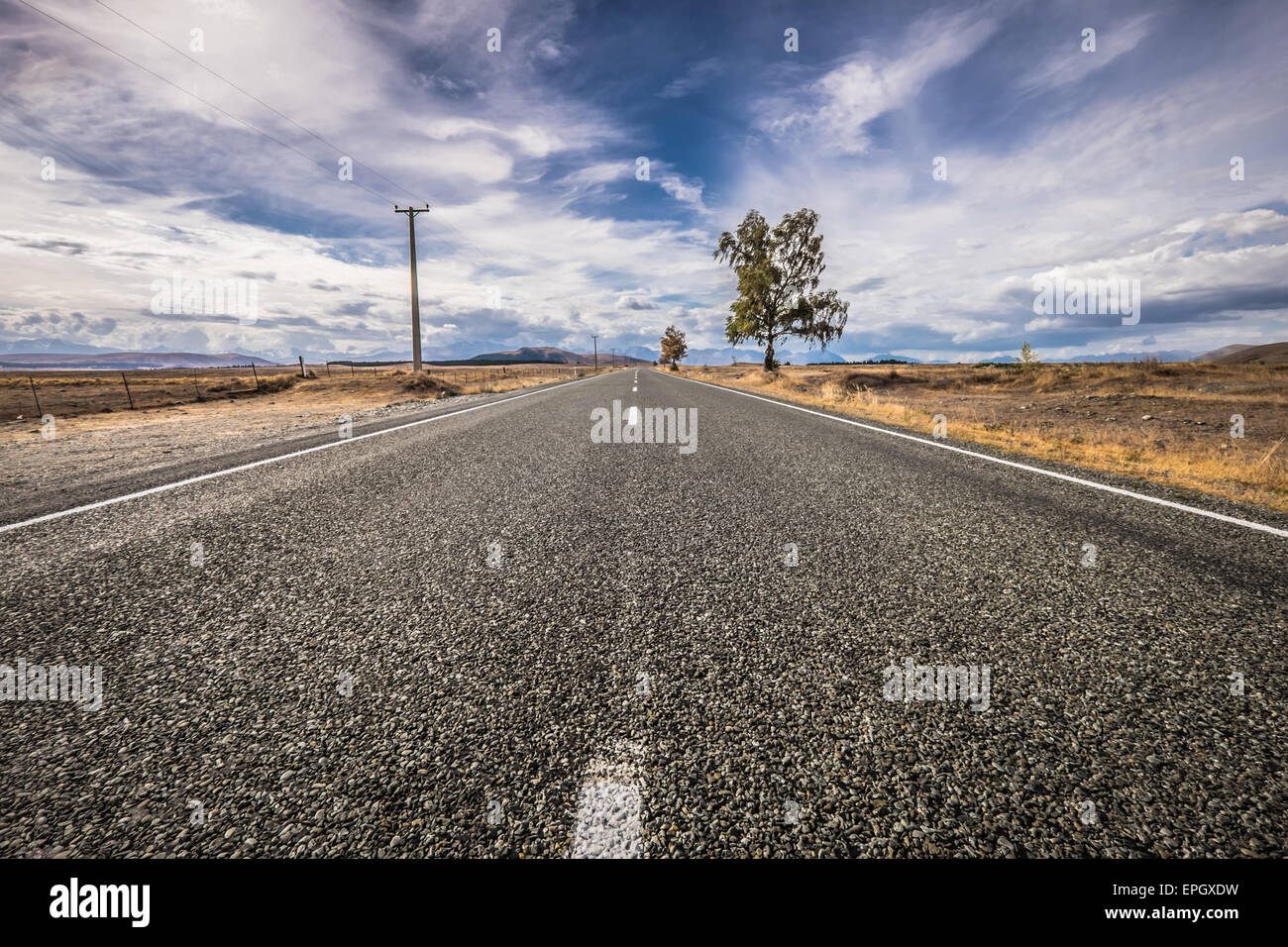 An empty road in the South Island of New Zealand - Stock Image