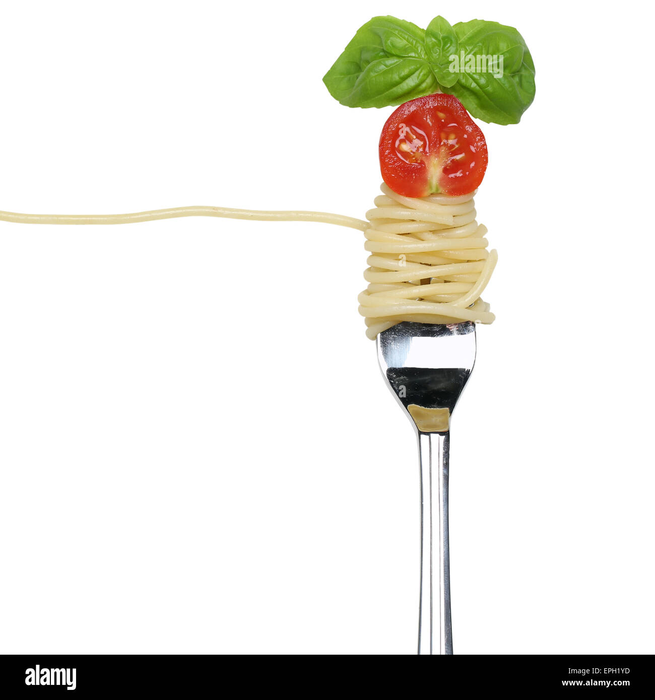Spaghetti Nudeln Pasta essen auf einer Gabel Freisteller - Stock Image