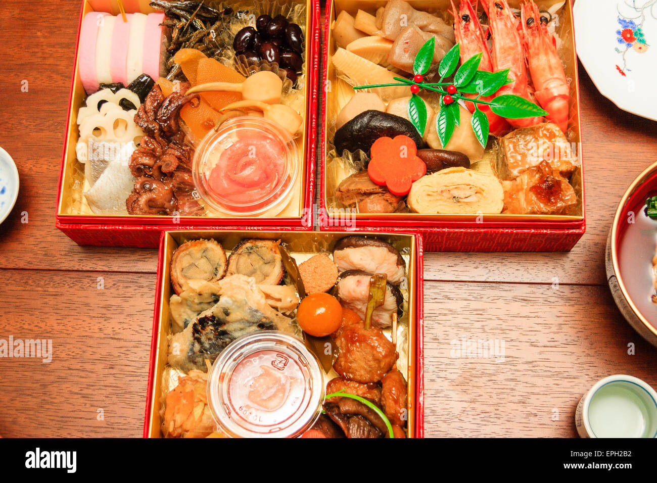 Japan, Table set with Osechi Ryori, a very expensive traditional New ...